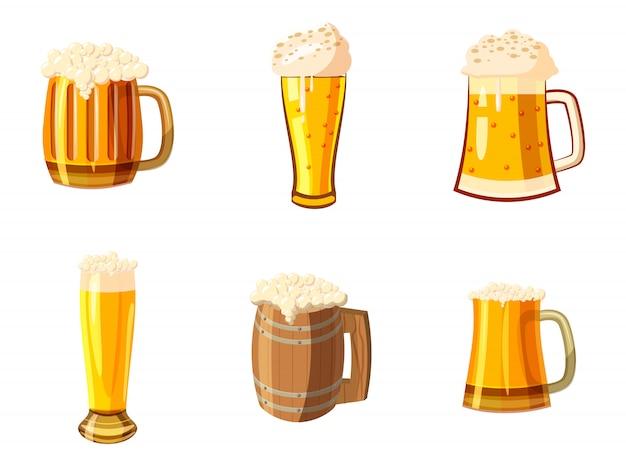 Glas bier ingesteld. cartoon set van glas bier Premium Vector