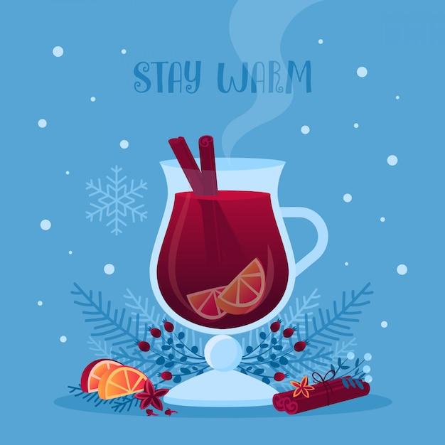Glas glühwein vectorillustratie Premium Vector