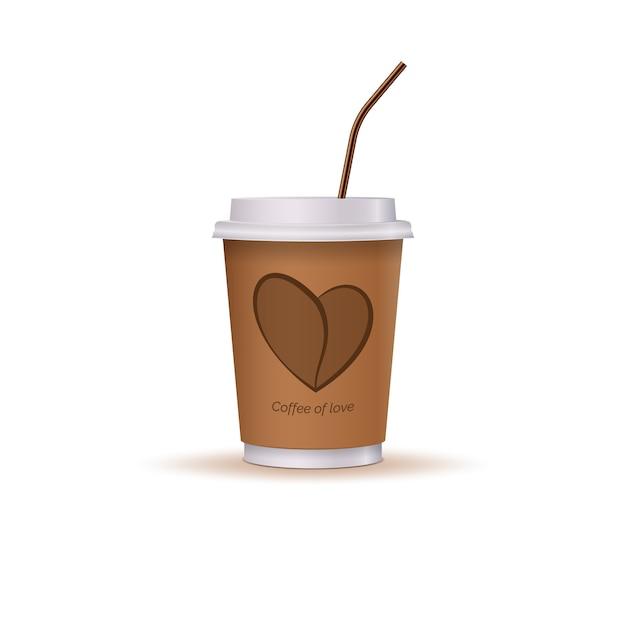 Glas koffie met een hart en een rietje. Premium Vector
