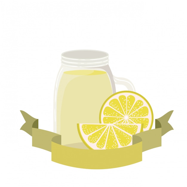 Glas met citroen en stro drankje Premium Vector