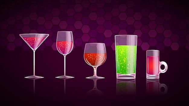 Glas met drankjes set Premium Vector