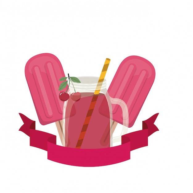 Glas met kers en stro drankje Premium Vector