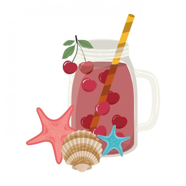 Glas met verfrissend drankje voor de zomer Gratis Vector