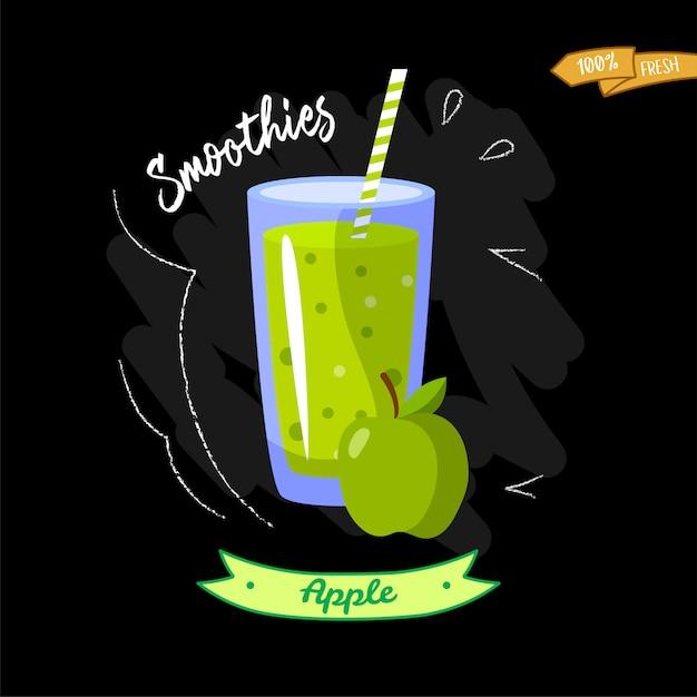 Glas smoothies op zwarte achtergrond. appel. zomerontwerp - goed voor menu-ontwerp Premium Vector