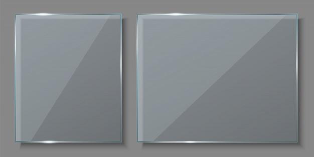 Glasplaten, lege lege bannersachtergrond. Premium Vector