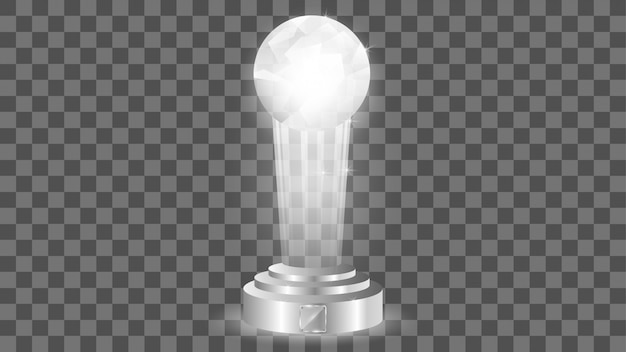 Glass award sjabloon, geïsoleerd op transparant Premium Vector