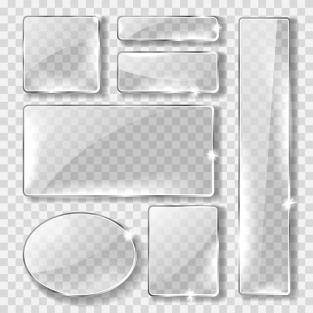 Glazen banner of plaat, realistische set Gratis Vector