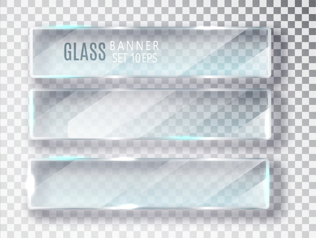 Glazen banners set. Premium Vector