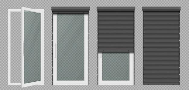 Glazen deur of raam met wit rolluik Gratis Vector