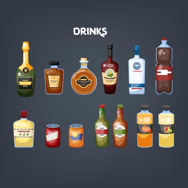 Glazen fles drank set. verzameling van verschillende dranken Premium Vector