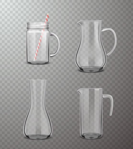 Glazen kannen realistische transparante set Gratis Vector