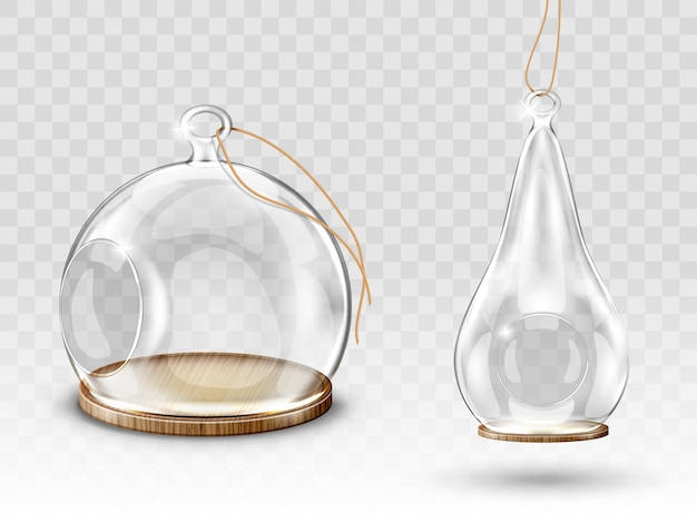 Glazen kerstballen Gratis Vector