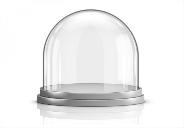 Glazen koepel en grijze plastic dienblad realistische vector Gratis Vector