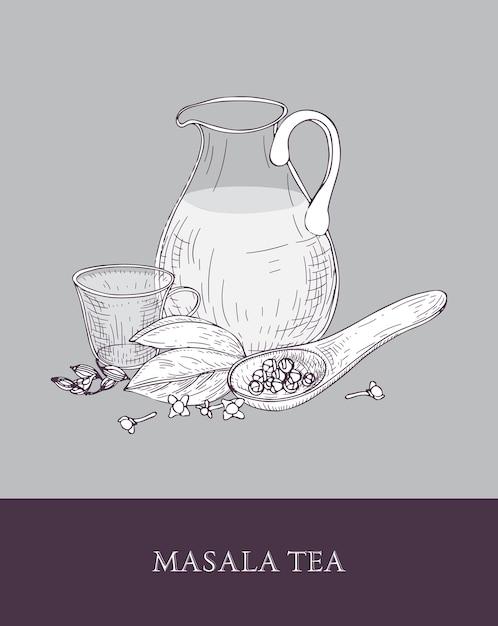 Glazen kruik, kopje masala chai of gekruide thee, lepel en verschillende indiase kruiden op grijs Premium Vector