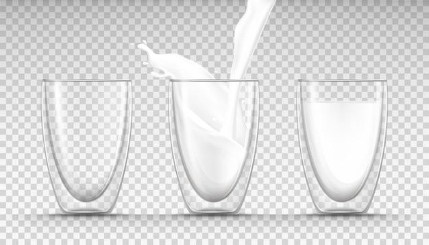 Glazen lege, volle en stromende melk en een melkplons in realistische stijl. Gratis Vector