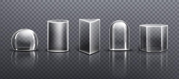 Glazen of doorzichtige plastic koepels verschillende vormen geïsoleerd op transparante achtergrond Gratis Vector