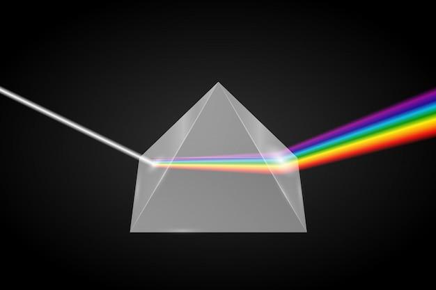 Glazen piramide breking van licht, Premium Vector
