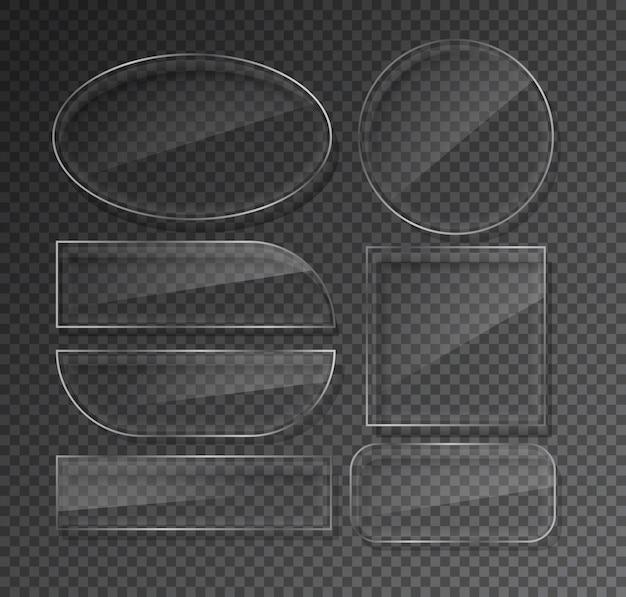 Glazen platen ingesteld op transparant Premium Vector