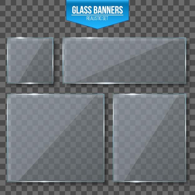 Glazen platen Premium Vector