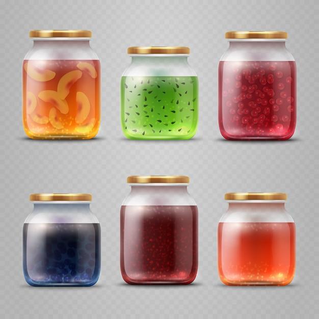 Glazen pot met met jam en fruitmarmelade vector set. kruik met fruitjam en eigengemaakte dessertillustratie Premium Vector