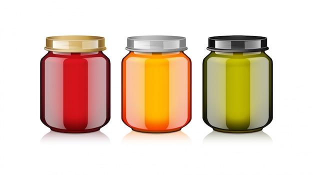 Glazen pot set met wit label voor honing, jam, gelei of babyvoeding puree realistische mock-up sjabloon Premium Vector