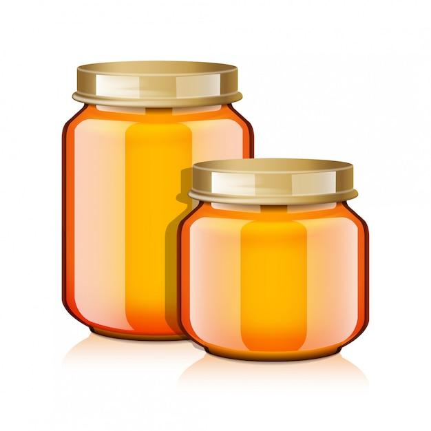 Glazen pot set voor honing, jam, gelei of babyvoeding puree realistische mock-up sjabloon Premium Vector