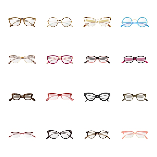 Glazen productie cartoon icon set, fashion bril. Premium Vector