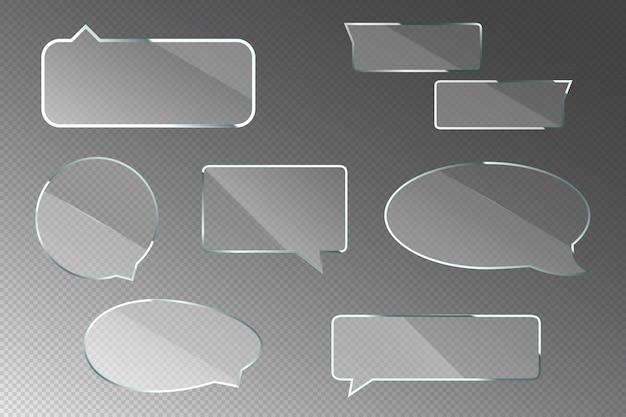 Glazen tekstballonnen voor chatdialoog Gratis Vector