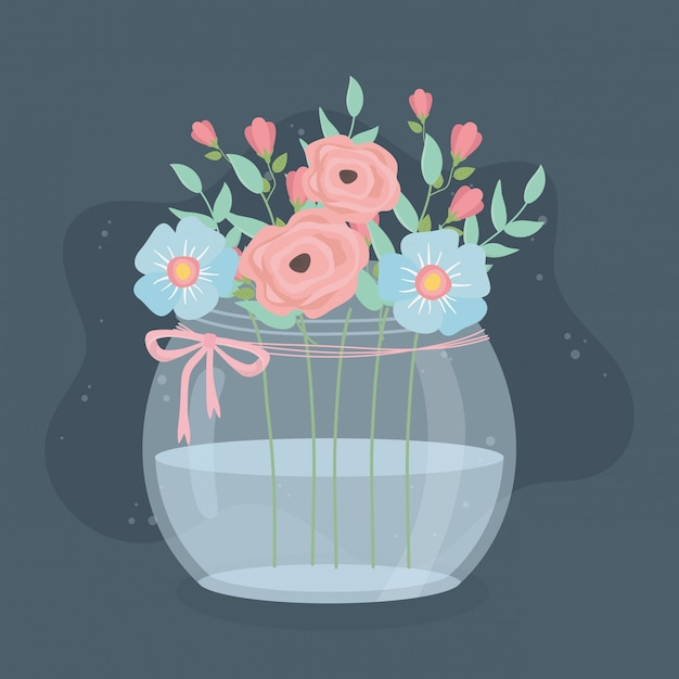 Glazen vaas met bloemen en bladeren decoratie Premium Vector