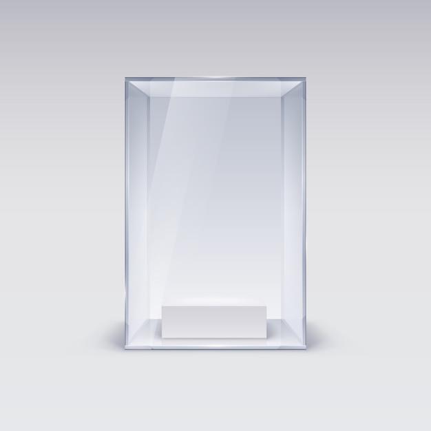 Glazen vitrine voor presentatie op witte achtergrond Premium Vector