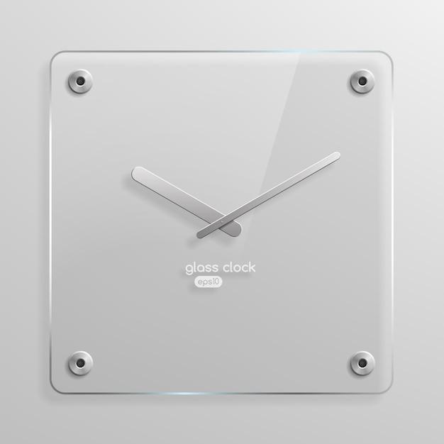 Glazen wandklok Premium Vector