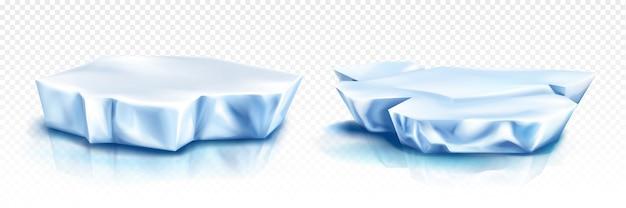 Gletsjers, ijsbergstukken, blauwe ijsblokken Gratis Vector