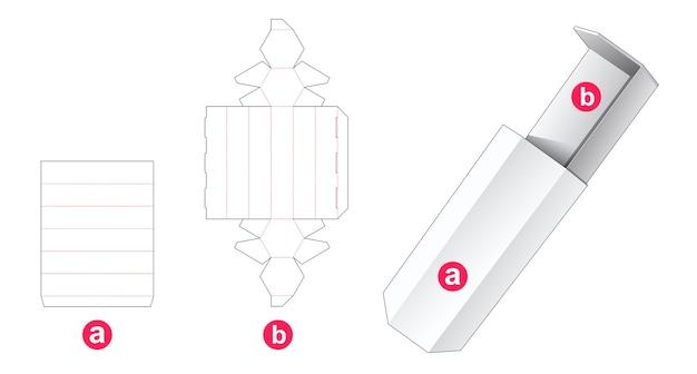 Glijdende zeshoekige doos gestanst sjabloon Premium Vector
