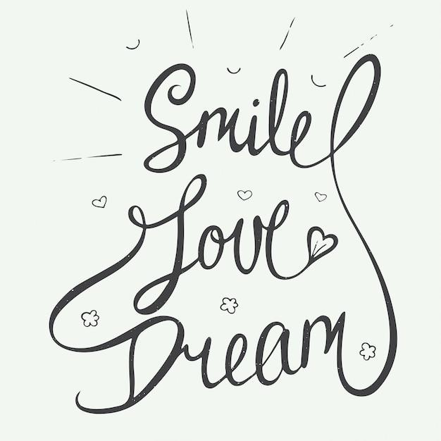 Glimlach, liefde, droom met kleine harten Premium Vector