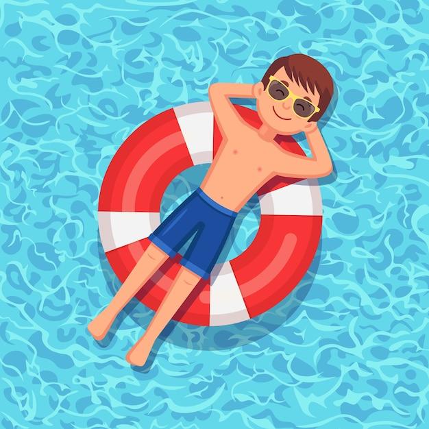 Glimlach man zwemt op luchtbed Premium Vector