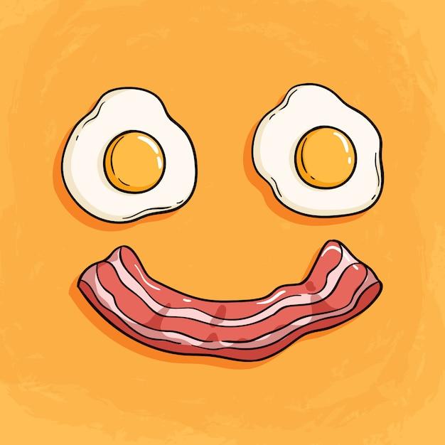 Glimlachbacon en eiillustratie voor ontbijt op oranje achtergrond Premium Vector