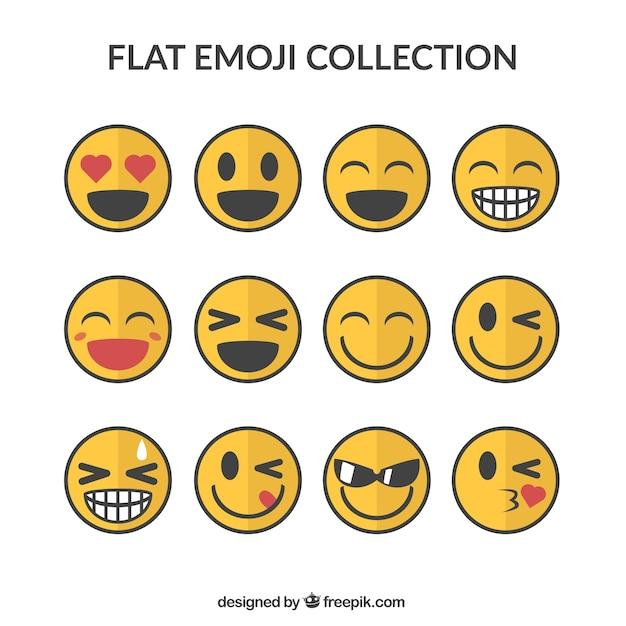 Glimlachen emoticons pack Gratis Vector