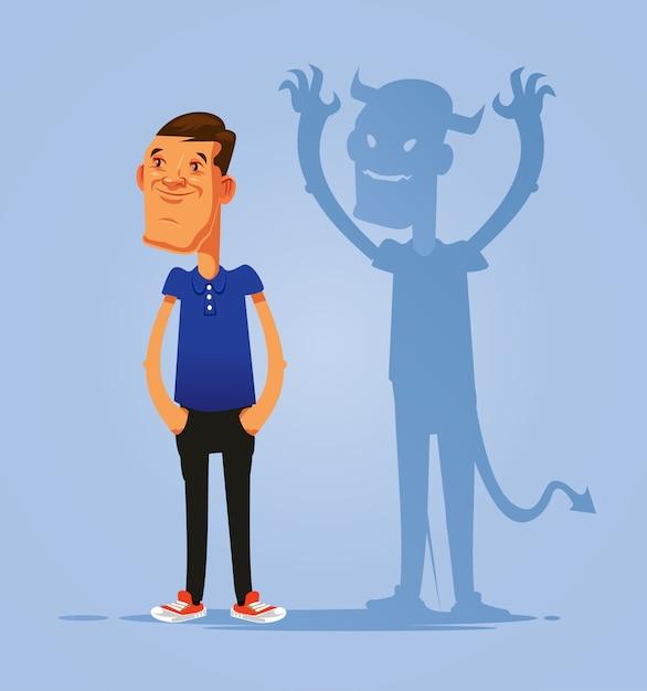 Glimlachend doen alsof goed persoon dubbel gezicht man karakter met duivels schaduw. hypocrisie concept. platte cartoon geïsoleerde illustratie Premium Vector