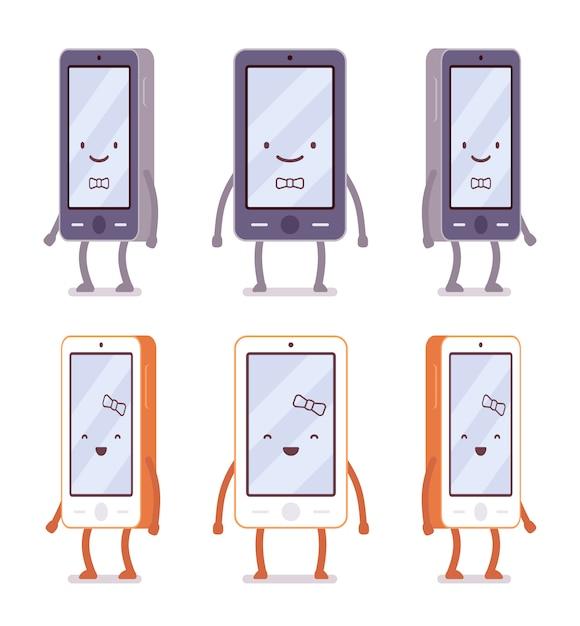 Glimlachend jongen en meisje smartphones van verschillende kanten Premium Vector