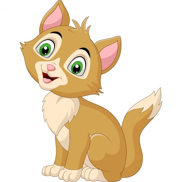 Glimlachend kattenbeeldverhaal dat op wit wordt geïsoleerd Premium Vector