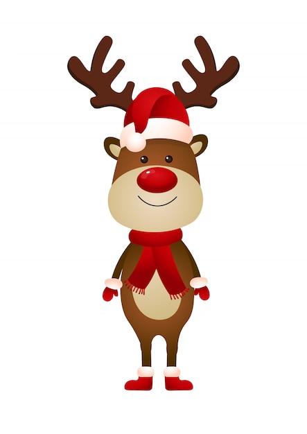 Glimlachend rendier die de hoed van de kerstman en sjaalillustratie dragen Gratis Vector