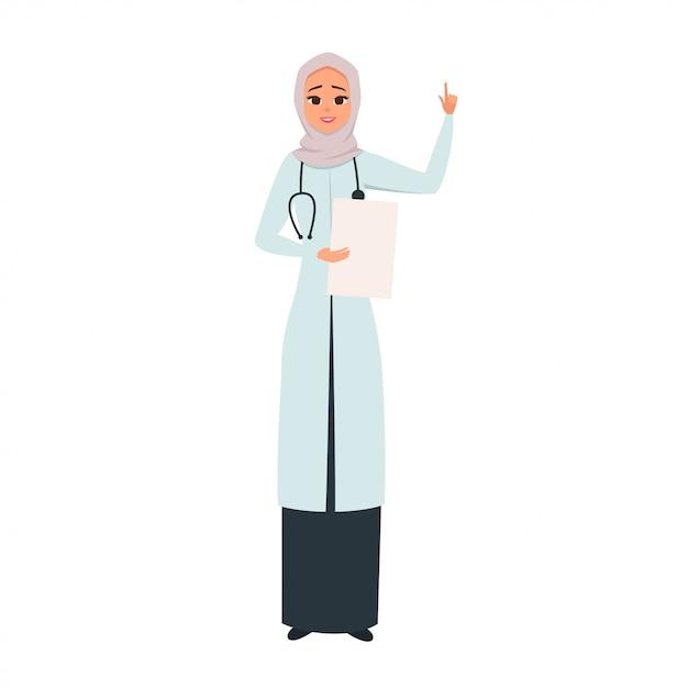Glimlachende arts in hijab met haar hand omhoog als een teken van aandacht. Premium Vector