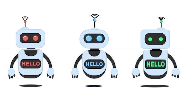 Glimlachende chatbot die problemen, innovatierobot helpen oplossen Premium Vector
