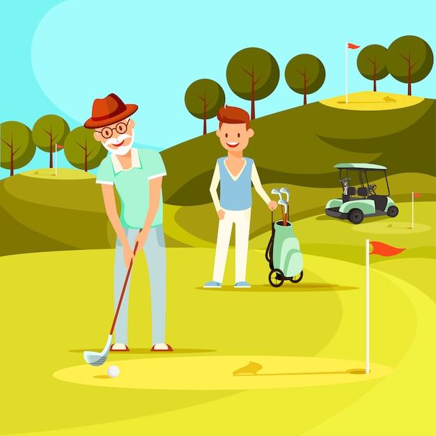 Glimlachende hogere mens die bal met golfclub raakt. Premium Vector