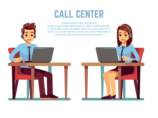 Glimlachende jonge vrouw en man exploitant met hoofdtelefoon die met klant spreekt. stripfiguren voor callcenter Premium Vector
