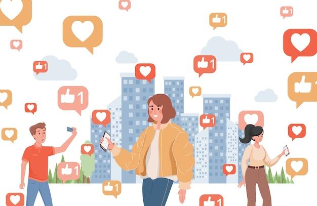 Glimlachende jonge vrouwen en jongen die sociale media vlakke illustratie gebruiken. mensen met smartphones die door de stad lopen, omringd door borden met likes en harten. Premium Vector
