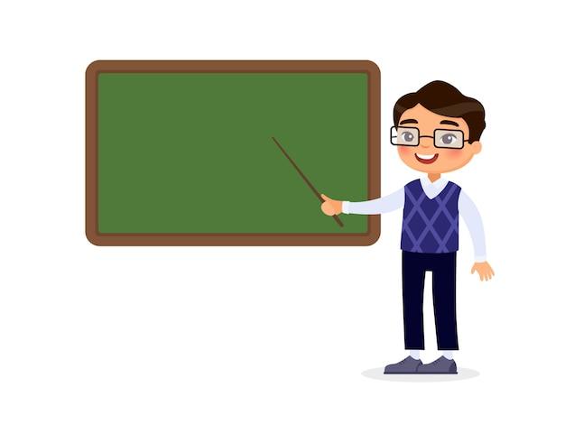 Glimlachende privé-leraar die op leeg bord in het karakter van het klaslokaalbeeldverhaal richten. educatief proces. Premium Vector