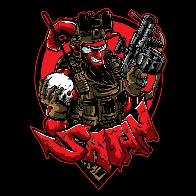 Glimlachende satan met pistool en schedel Premium Vector