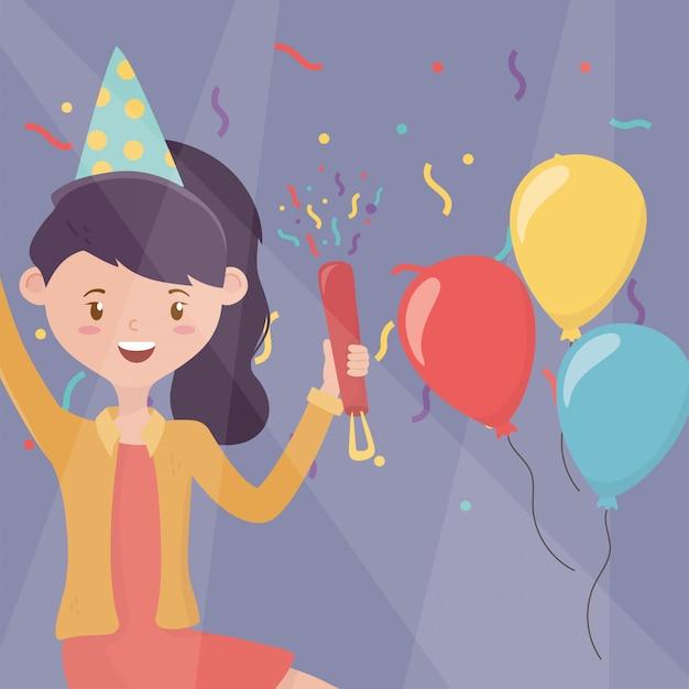 Glimlachende vrouw met hoed en ballonsvieringspartij Premium Vector