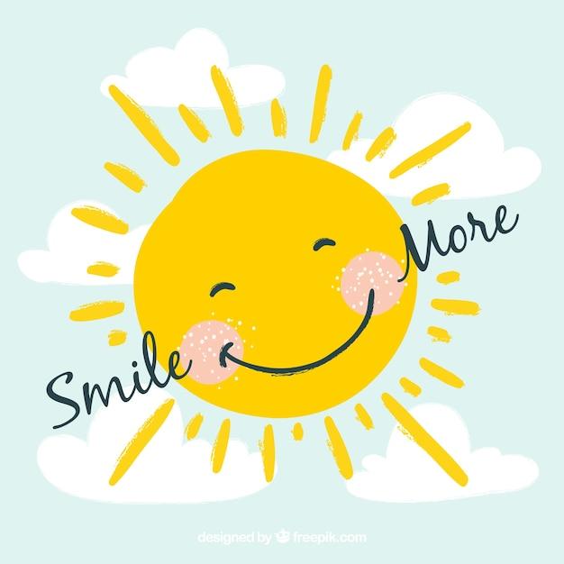 Glimlachende zon achtergrond Gratis Vector
